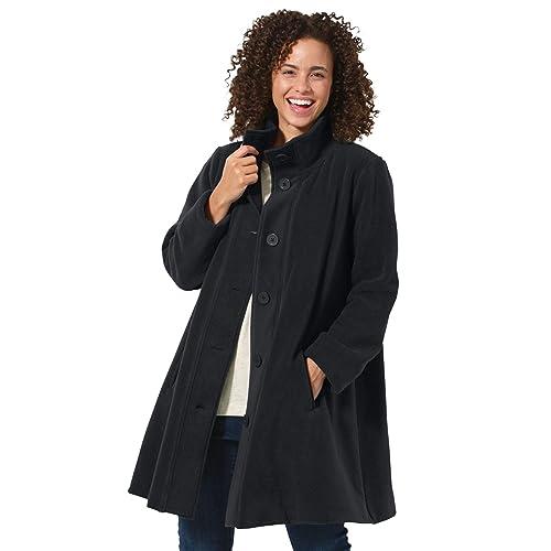 6567f09312ae2 Woman Within Plus Size Fleece Swing Funnel-Neck Jacket