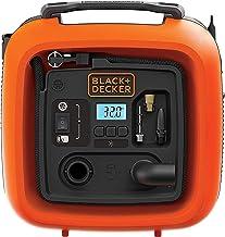 Black+Decker Sprężarka Powietrza do Opon Piłek Wózków Inwalidzkich z 2 Trybami Pracy i Trybem Odpompowania 11,0 bar/12 V