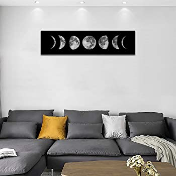Moon Phrase Canvas Wall Art Print Unframed,Artwork Abstract Space Black and White Galaxy Pictures for Living Room Bedroom (12x47 inch, Black)
