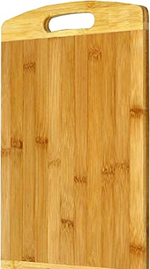 Zircon Thick Wooden Bamboo Kitchen Chopping, Cutting, Slicing Board with Holder for Fruits, Vegetables & Meat