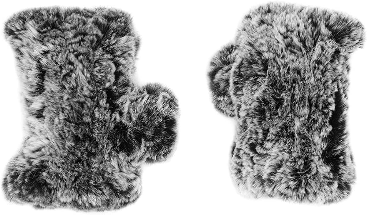 surell Sheared Rabbit Textile Knit Fingerless Glove - Winter Texting Mittens - Luxury Cold Weather Clothing (Black Frost)