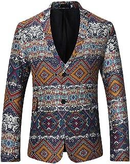 Pingtr Men's Unique Tailored Vintage Print Suit Jackets, Mens Advanced Customization Tuxedo Suits Slim Fit Gothic Blazer S...