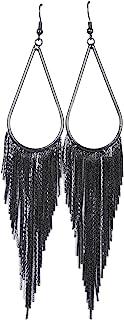 Vijiv 1920s Long Drop Tassel Earrings 20s Flapper Jewelry Costume Accessories