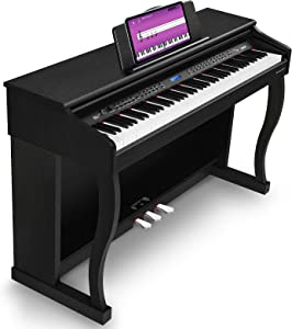 Vangoa VDP-3 Digital Piano 88 Key Weighted Hammer Action Home Digital Piano Bundle with Furniture Stand, Damper Pedal, Power Supply, MIDI/USB/Headphone/MP3/Audio Interface, Black