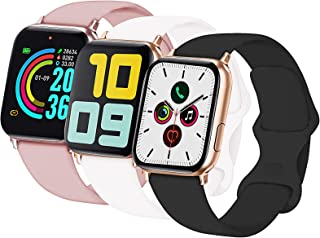 3-Pack Idon Sport Band Compatible for Watch Band 42MM 44MM M/L, Soft Silicone Sport Bands Replacement Strap Compatible with iWatch Series SE/6/5/4/3/2/1, Black + White + Pink Sand