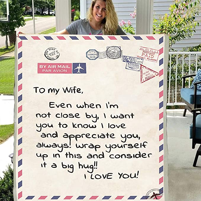 Letter Postcard To my daughter 3D Custom Fleece Blanket Gift from love Wife