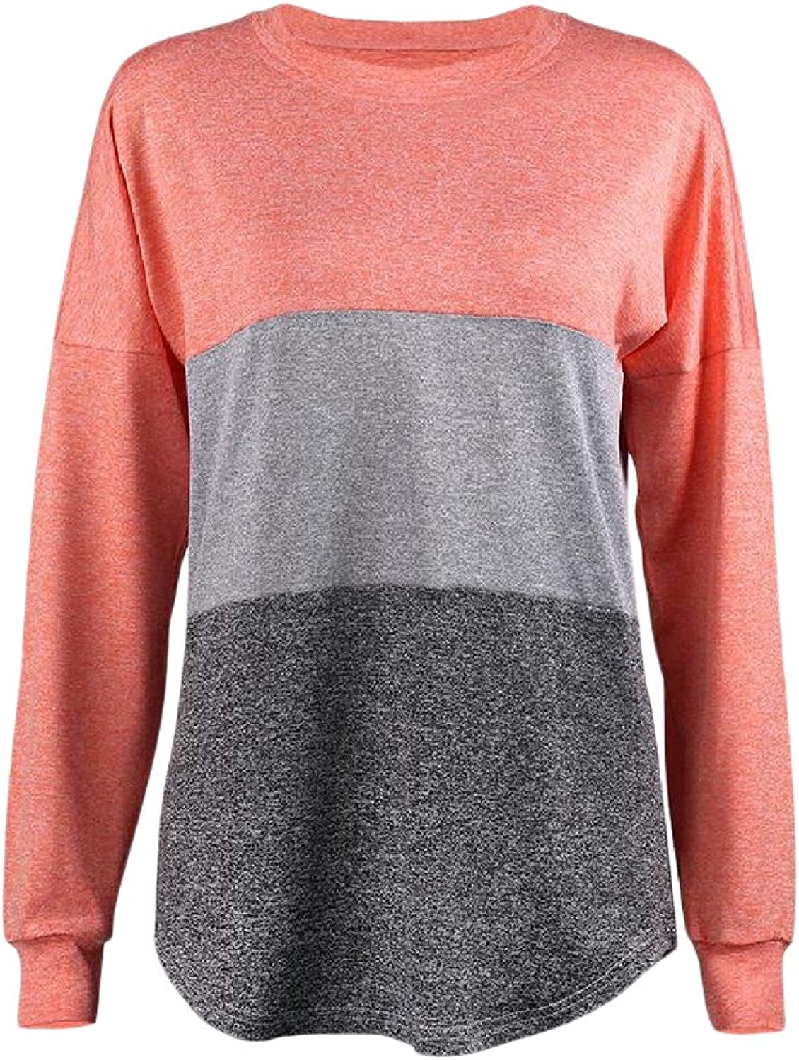 Abetteric Womens Knit Spell color Fashion Top Sweatshirt Comfort Sweater