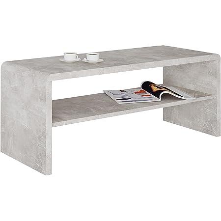 IDIMEX Table Basse LOUNA, Table de Salon rectangulaire ou Meuble TV de 100 cm avec 1 étagère Espace de Rangement Ouvert, en mélaminé décor béton