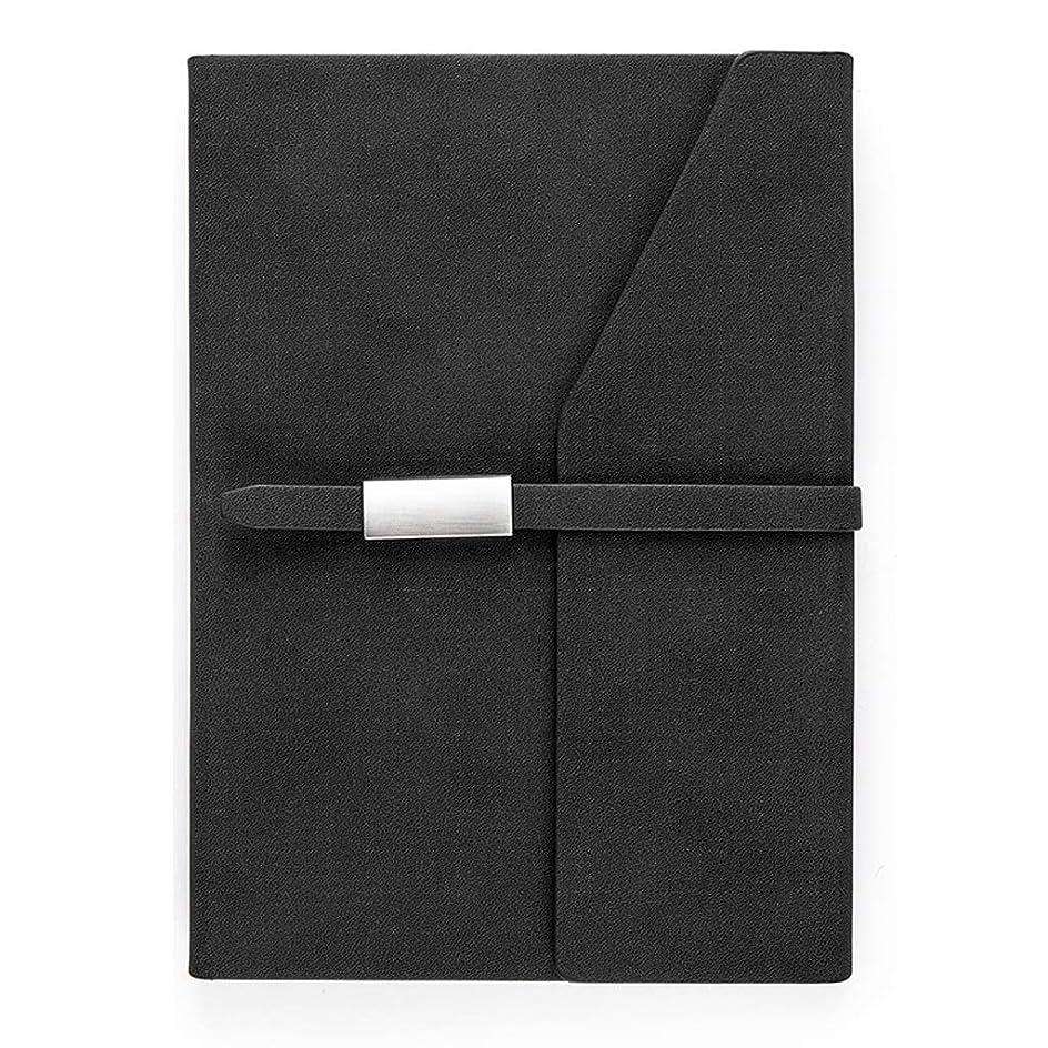 オフィスノート A5バックルビジネスノートブックメモ帳作業オフィス記録帳ポータブル260ページを厚く (Color : Black, サイズ : 15.5*21cm)