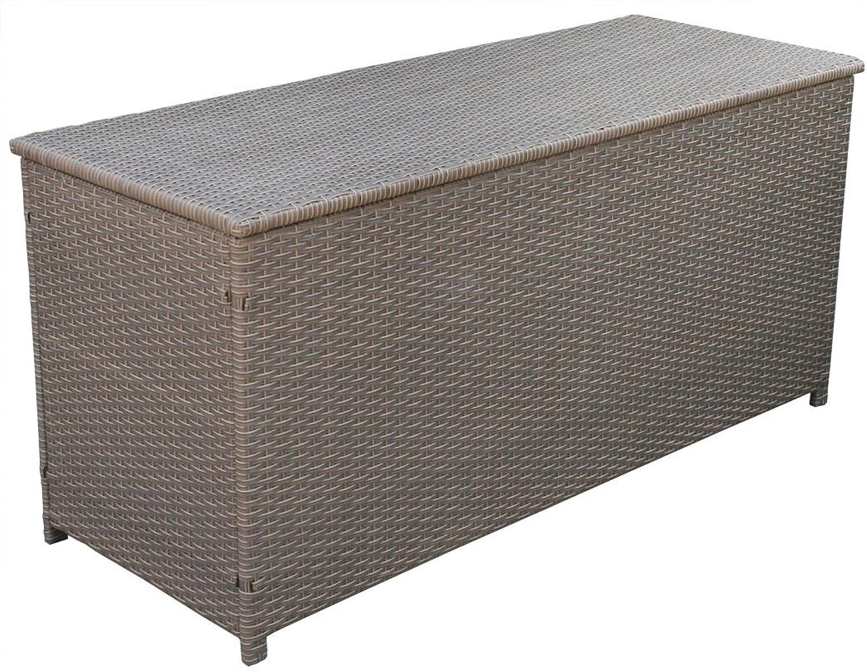 KMH, Kissentruhe Kissenbox Emma 130x50x61 cm aus braunem (BiFarbe) Polyrattan Auflagenbox (2 String) ( 106129)