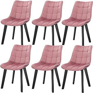 Lestarain LCNI94002-6 6X Silla de Cocina Dining Chairs Sillas de Comedor Juego de 6 Sillas Tapizadas en Terciopelo Sillas Salon Nórdicas Sillas Bar Rosa