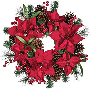 Sullivans Poinsettia Holly Berry 18 Inch Artificial Greenery Decorative Christmas Ring Wreath