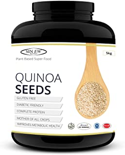 Sinew Nutrition Gluten Free White Quinoa Seeds 5 kg, High in Protein, Fibre and Iron