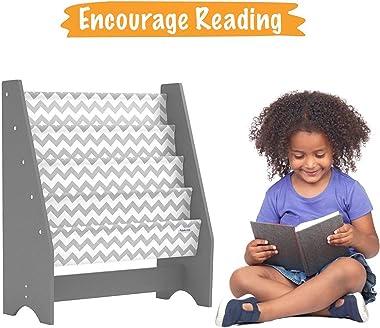 Pidoko Kids Bookshelf, Grey with Chevron   Wooden Children's Sling Bookcase with Pocket Storage Book Rack - Canvas Gray