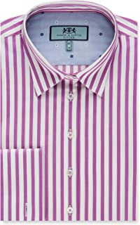 4cc3f9501b HAWES & CURTIS Women's Pink & White Stripe Fitted Shirt with Contrast  Detail - Double Cuff