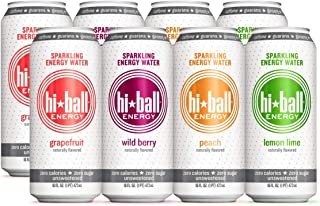 Hiball Energy 4 Flavor Sparkling Energy Water Variety Pack, Zero Sugar and Zero Calorie Energy Drink, 16 Fluid Ounce Cans,...