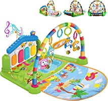 COOLBABY Large Play Learn Infant Gym Toys Piano Activity Baby Kick and Gym Play Mat Lay & Play 3 in 1 Fitness Music and...