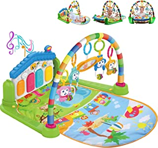 COOLBABY Large Play Learn Infant Gym Toys Piano Activity Baby Kick and Gym Play Mat Lay & Play 3 in 1 Fitness Music and Li...
