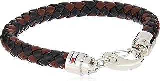 TOMMY HILFIGER MEN'S STAINLESS STEEL & BLACK & BROWN LEATHER BRACELETS -2790047