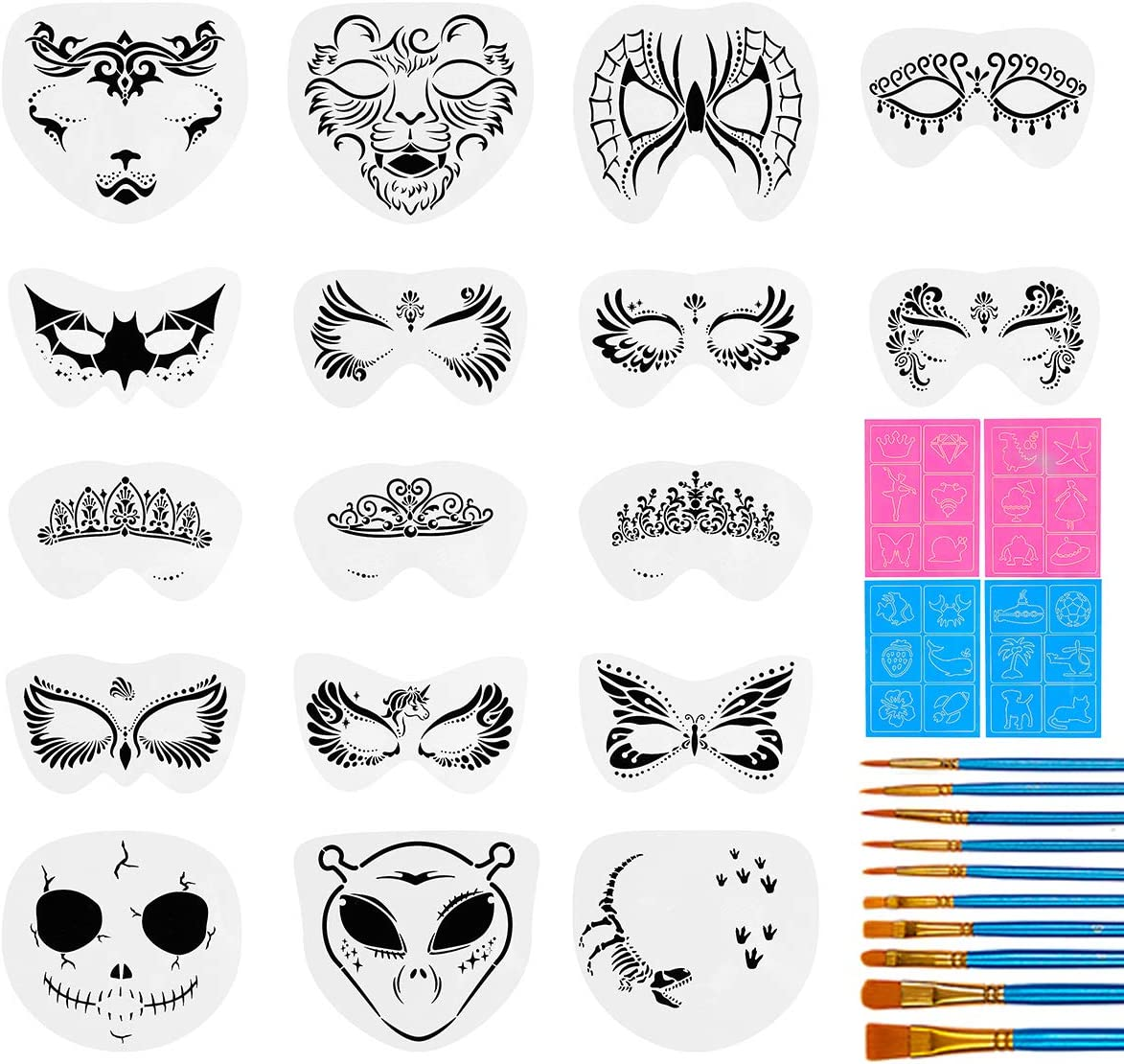Max Colorado Springs Mall 86% OFF 31 Pieces Face Stencils Kit Paint Reusable 17 Stenci Large