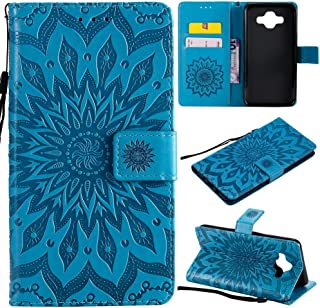 Protective Case Compatible with Samsung Compatible Samsung Galaxy J7 Sunflower Printing Design PU Leather Flip Wallet Lanyard Protective Case with Bracket Card Slot Phone case (Color : Blue)