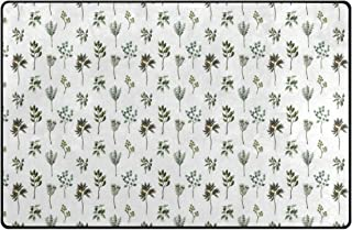 JOSENI Non-Slip Area Rugs Illustration of Various Leaves and Plantation Nature Print Floor Mat Living Room Bedroom Dinning Kitchen Carpets Doormats
