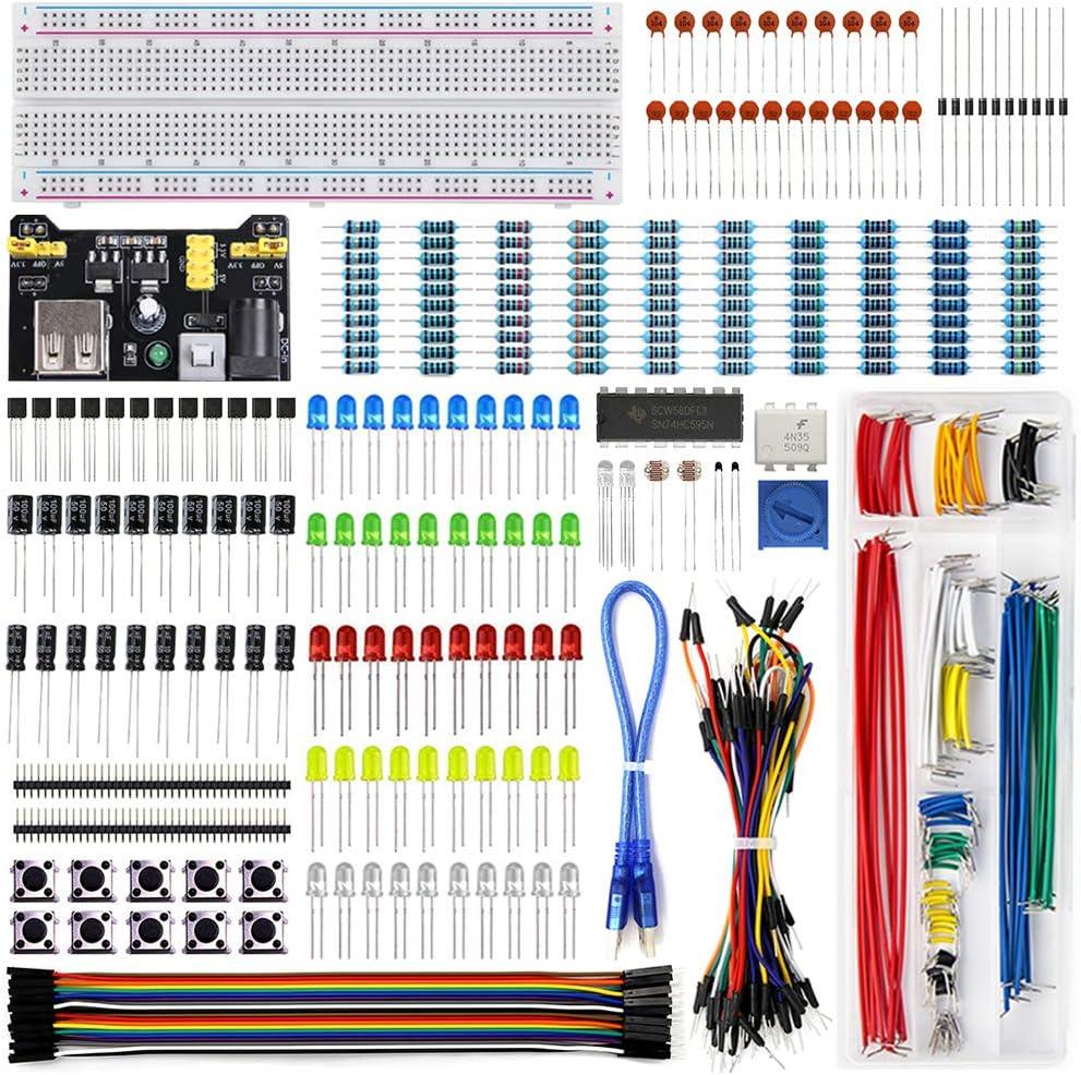 REXQualis Kit Mejorado de Componentes Electrónicos con Módulo de Alimentación, Placa de Prototipos (Protoboard) de 830 Pines, Cables Puente, Potenciómetro, compatible con Arduino, Raspberry Pi, STM32
