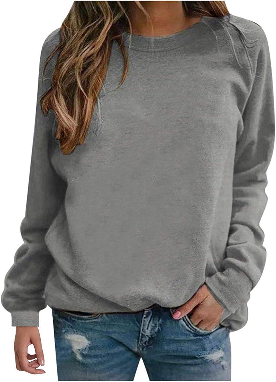 Wugeshangmao Long Sleeve Hoodies for Womens Long Sleeve Sweatshirts Print Shirts Casual Loose O Neck Pullover Tops