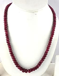 1 Strand Natural Ruby Corundum Faceted Rondelle 6-10.5mm Beads Necklace,Adjustable 16