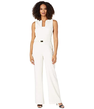 LAUREN Ralph Lauren Belted Crepe Jumpsuit (Mascarpone Cream) Women