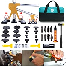 GLISTON Paintless Dent Puller – Golden Dent Puller Kit, 35pcs Dent Remover Tools with Adjustable Width Dent Repair Tools for Car, Pro Strong Viscosity Glue Sticks for DIY Auto Body Dent Repair
