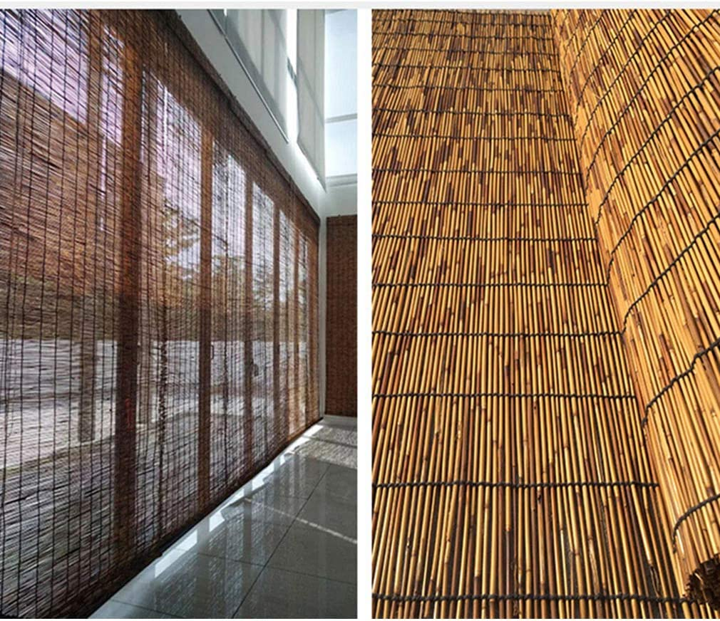 NIANXINN Bamboo Roller Blinds,Natural Made of Reed,Premium Retro Straw Blinds 50x60cm//20x24 Light Filtering Roll Up Blinds with Valance,Decorative Curtains,for Outdoor//Indoor,Custom