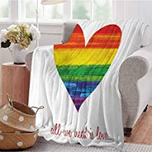 Mademai Pride Fleece Throw Blanket All We Need is Love Quote with Heart Symbol in The Gay Parade Colors Valentines Super Soft Warm Blanket 70