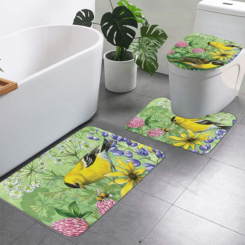 Bass Fishing Wave Print 3 Pieces Bathroom Fashion Rugs Set U-S Ranking TOP4 Includes