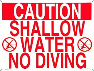 Poolmaster Sign for Residential or Commercial Swimming Pools, Shallow Water No Diving