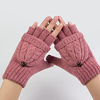 Fingerless Gloves Women Wool Knitted Gloves With Mitten Cover