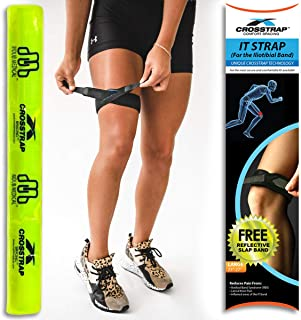 CROSSTRAP IT Band Strap | Illiotibial Band Support for Running, Cycling, Hiking and Sports (Black, 1 Pack (Large))