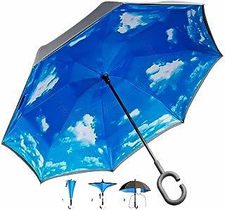 GOODSGADGETS GOODSGADGETS Umgedrehter Regenschirm mit blauem Himmel und C-Griff für freie Hände Invert-Stockschirm Schlauer Regen-Schirm mit 105cm Durchmesser