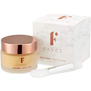 Fayce 24K Gold Face Mask | Luxury Lift & Glow | Collagen & Hyaluronic Acid for Anti-Ageing, Radiant Skin | Brush Included | Natural, Cruelty-Free | Unisex - 50ml
