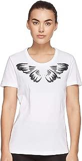 adidas Women's W FARM PRINT T-Shirt, White/Black, Small, 8-10