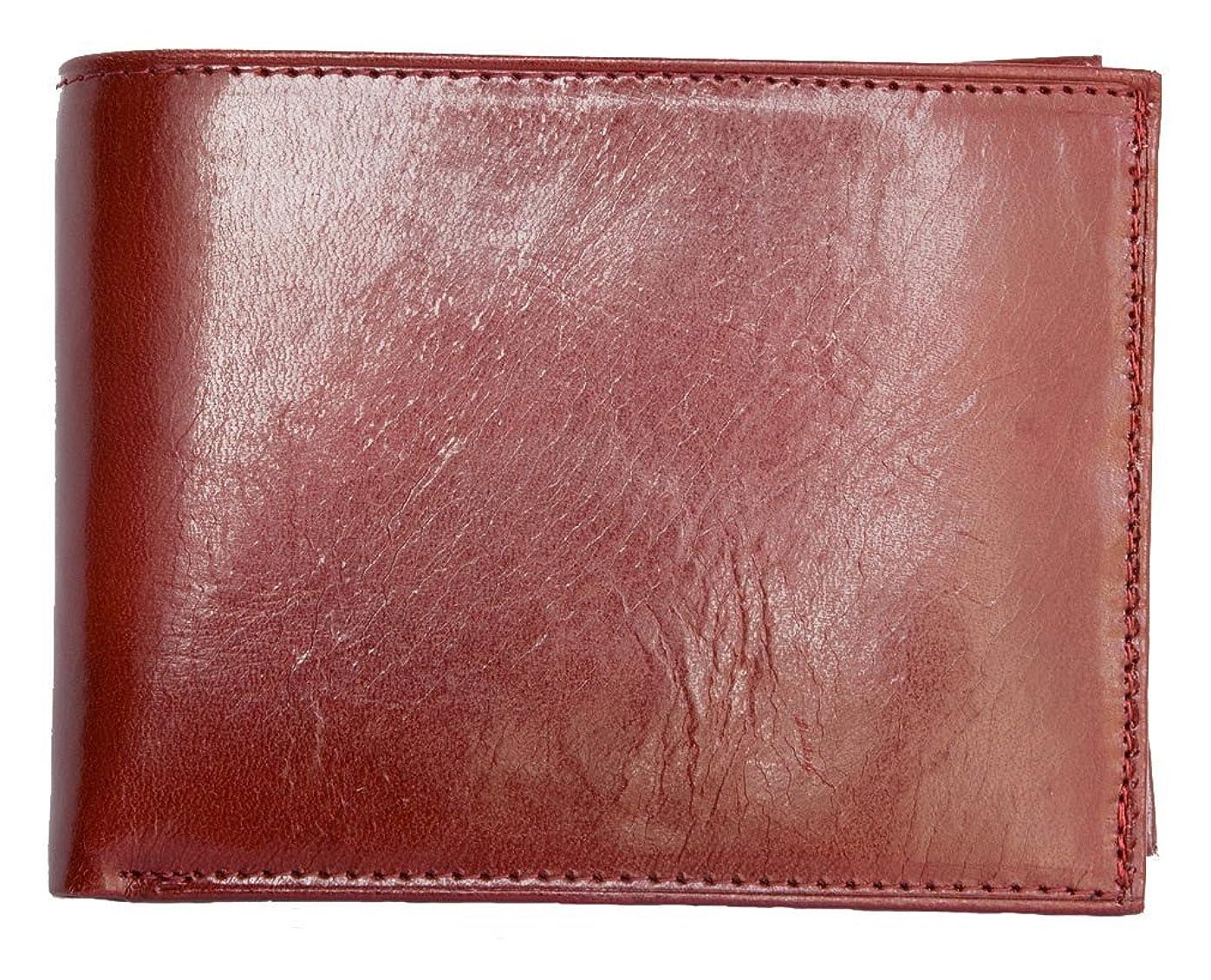 サロンクール形状メンズイタリアレッド光沢本革財布