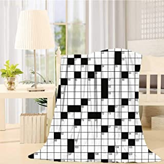C COABALLA Word Search Puzzle Durable Print Blanket,Classical Crossword Puzzle with Black and White Boxes and Numbers Decorative for Bedroom,39
