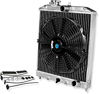 For Civic/Del Sol/Integra (Manual Transmission) 2-Row Dual Core 42mm Racing Radiator+12 inches Black Fan