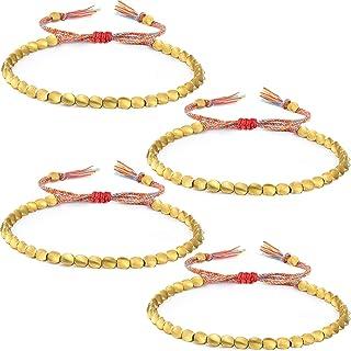 Hicarer 4 Pieces Tibet Copper Beads Bracelets Adjustable Handmade Braided Bracelets Lucky Rope Bracelet for Men Women