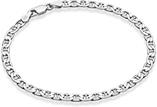 دستبند مچ پا Miabella 925 Sterling Silver 3mm، 4mm Solid Diamond-Cut Mariner زنجیر مچ پا زنانه ، 9 ، 10 ، 11 اینچ ساخت ایتالیا
