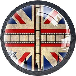 Drapeau du Royaume-Uni film film 4 PCS Tiroir de Porte Poignée, Bouton de Meubles, Boutons de Tiroir, Boutons de Porte, Po...
