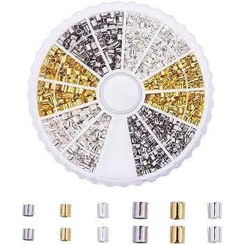 1 Caja Abalorios de Crimpado de Tubo 5 Paquetes Cuentas de Metal, Espaciadores Cuentas Sueltas de Pulsera Cierres Casquillos de Fabricación de Bisutería, Multicolor