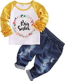 Baby Girl Big Sister Clothes Kids Floral Ruffle Sleeve Shirt Elastic Waist Denim Pants Ripped Jeans 2PCS Outfit Set