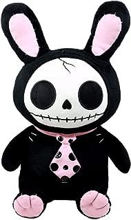 Ebros Furry Bones Skeleton Black Bunny with Pink Polkadot Tie Plush Toy Doll Collectible Rabbit Bun Bun Doll