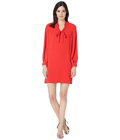 CeCe Moss Crepe Ruffled Collared Dress (Scarlet Glow) Women